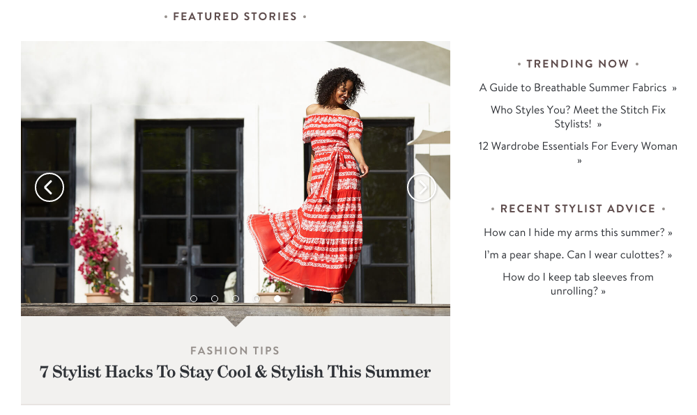 Stitch Fix Content Marketing Example